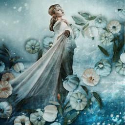 freetoedit pumpkinbrush woman sky mystical
