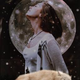 freetoedit woman wolf sleeping galaxy