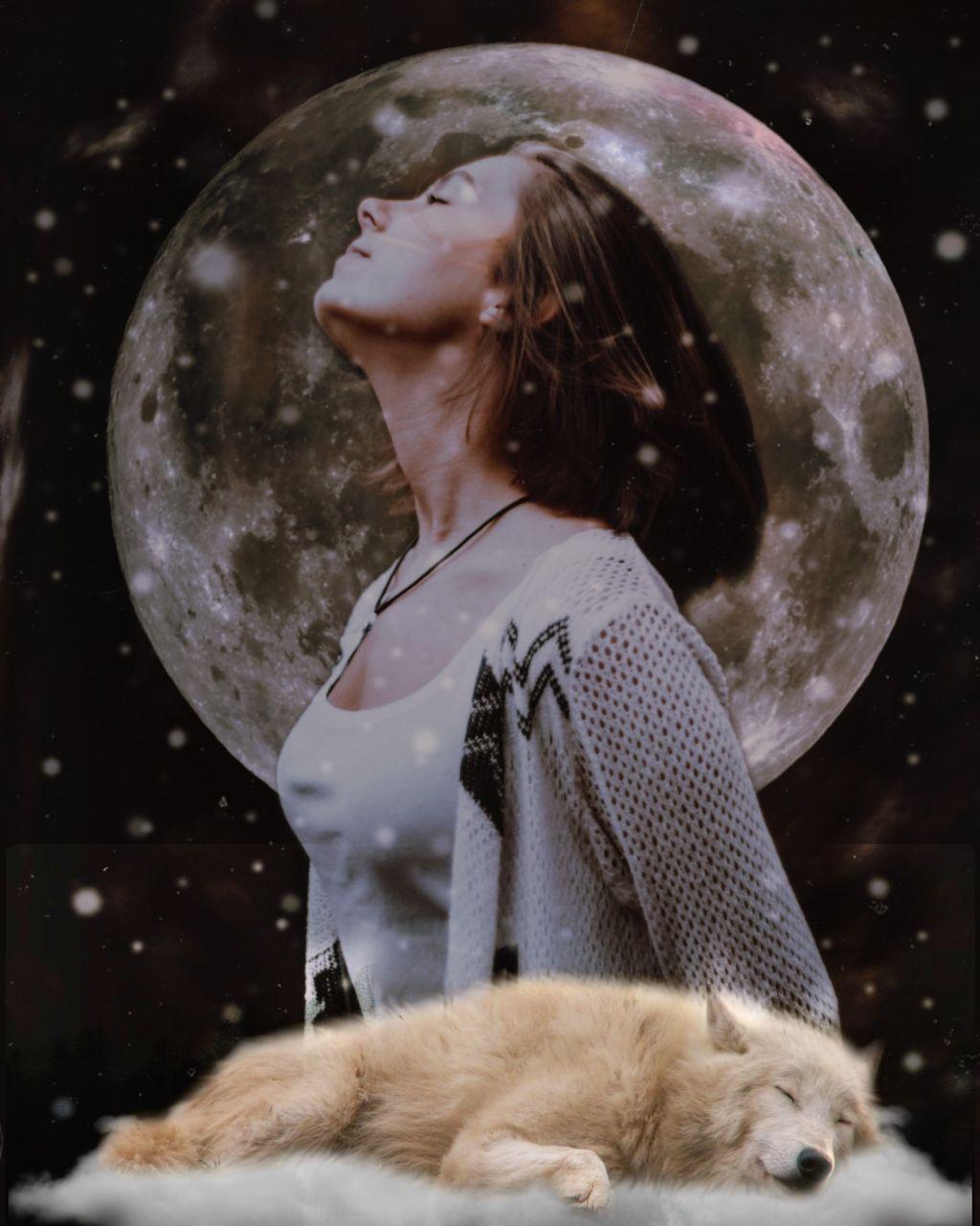 #freetoedit #woman #wolf #sleeping #galaxy #picsarteffects