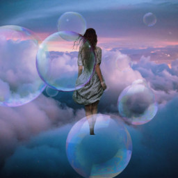 freetoedit woman clouds bubbles sureal