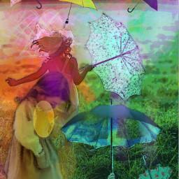 freetoedit remix children umbrellas coloreffects