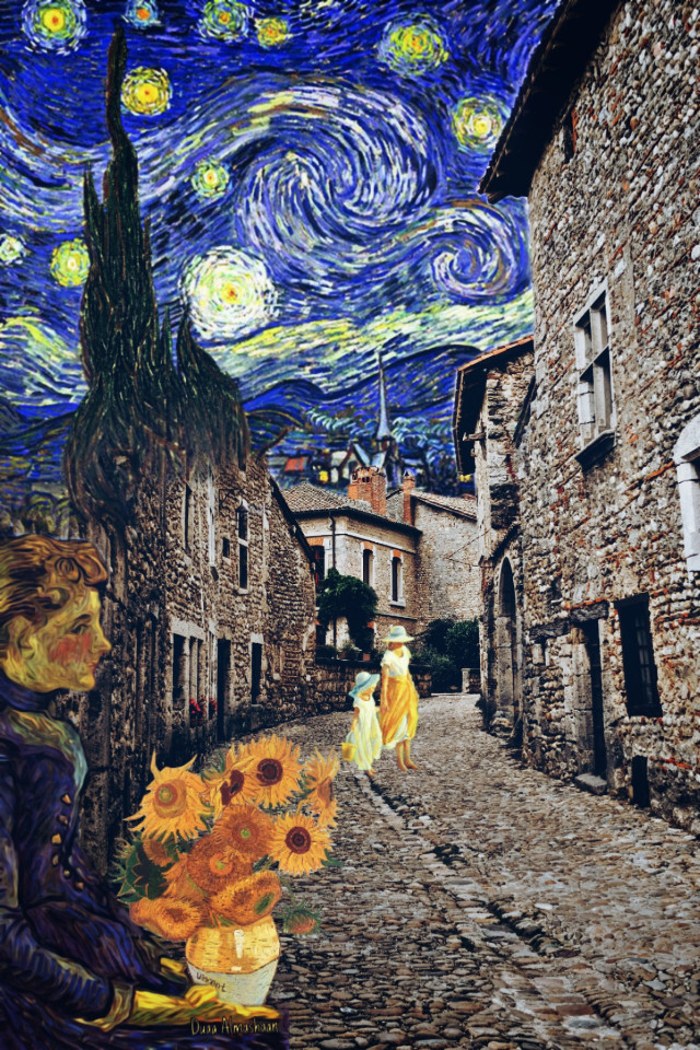 #freetoedit #vangogh #oilpainting #picture #vangoghstyle #stonehouse #flowers