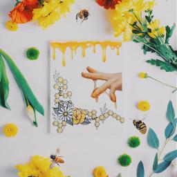 freetoedit bee notes art flowers ircflatlay flatlay