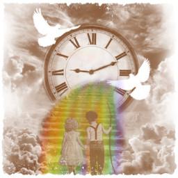 time clock rainbow freetoedit