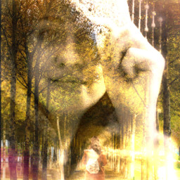 freetoedit doubleexposure women tree lighteffect