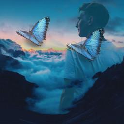 freetoedit doubleexposure butterfly clouds sunset