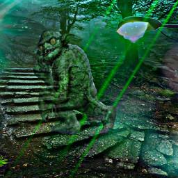 freetoedit lamppost troll green nightsky scary irclamplight lamplight