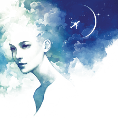 ftestickers fantasyart woman clouds doubleexposure freetoedit