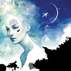 ftestickers fantasyart woman clouds doubleexposure freetoedit