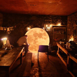 room man moon surreal warm freetoedit