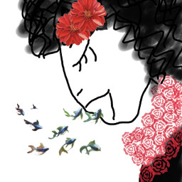 freetoedit paint paintings woman rose