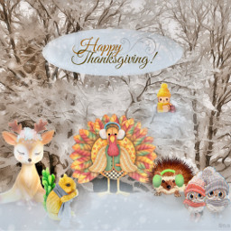 happythanksgiving freetoedit thanksgiving animals cute fcthanksgiving