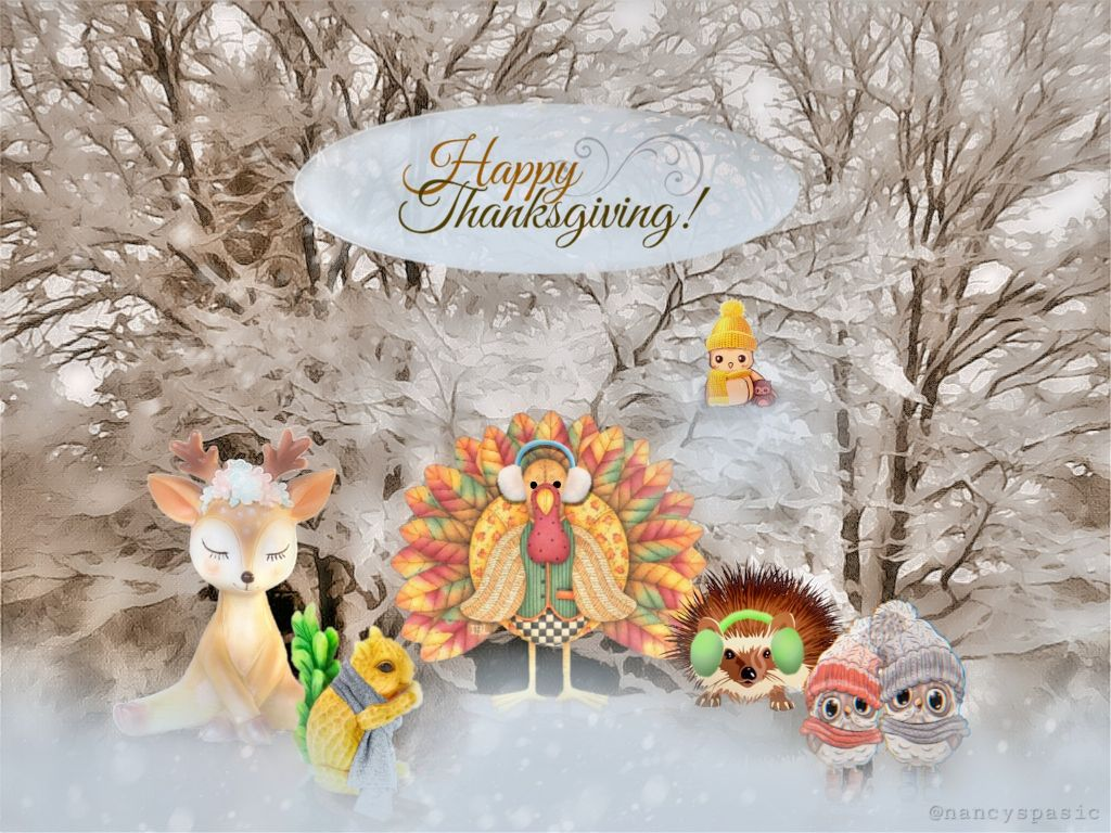 Blessings to to you and to those who gather together beside you.  #happythanksgiving #freetoedit #thanksgiving #animals #cute #snow