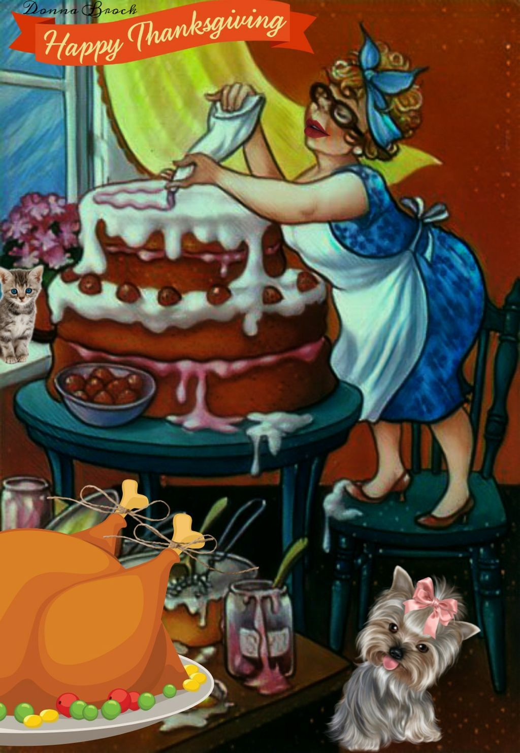 THE COOK ... THANKSGIVING ...    #thanksgiving  #freetoedit. #woman #cook #baker #cake #dog #cat  #fcthanksgiving