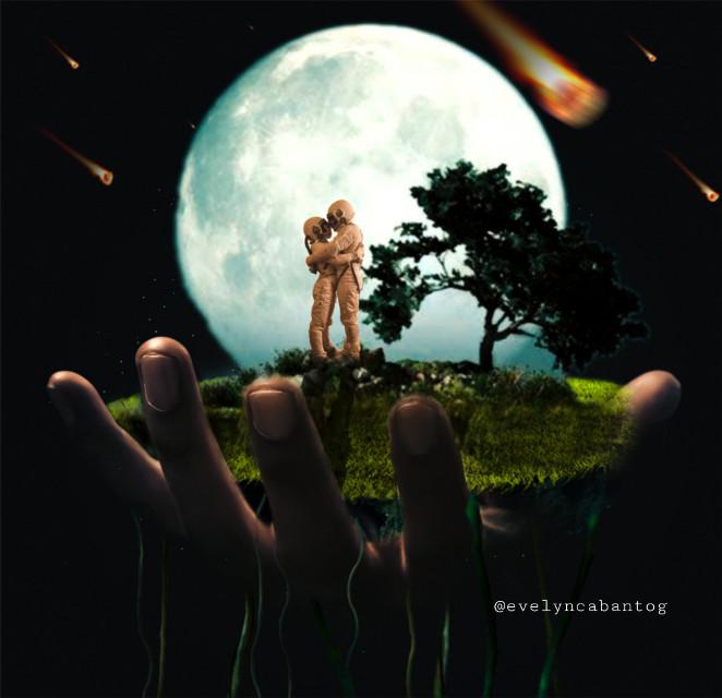 #freetoedit #hand #floatingisland #moon #astronaut #surrealism #love