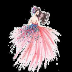 ftestickers watercolor woman girl flowers freetoedit