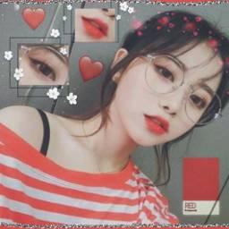 dontedit noedit red girl korean freetoedit