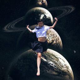 girl jump freedom space planets freetoedit