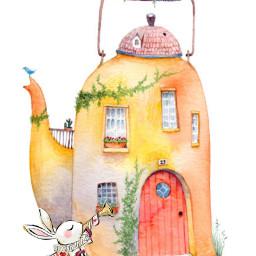 freetoedit teapot rabbit house garden