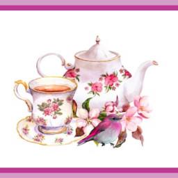 freetoedit teatime bird teapot teacup