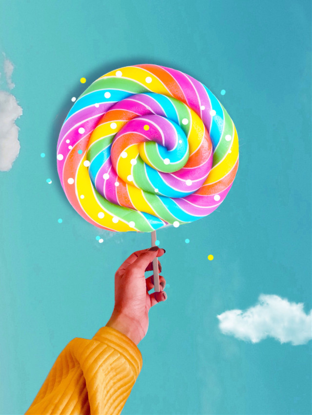 #freetoedit #candy #hand #colourful #clouds #remixed