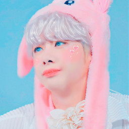 hyungwon pink blue bunny monstax