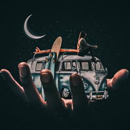freetoedit van traveling explorer moon