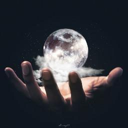 freetoedit moon stars hand be_creative