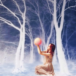 freetoedit forest ball woman trees
