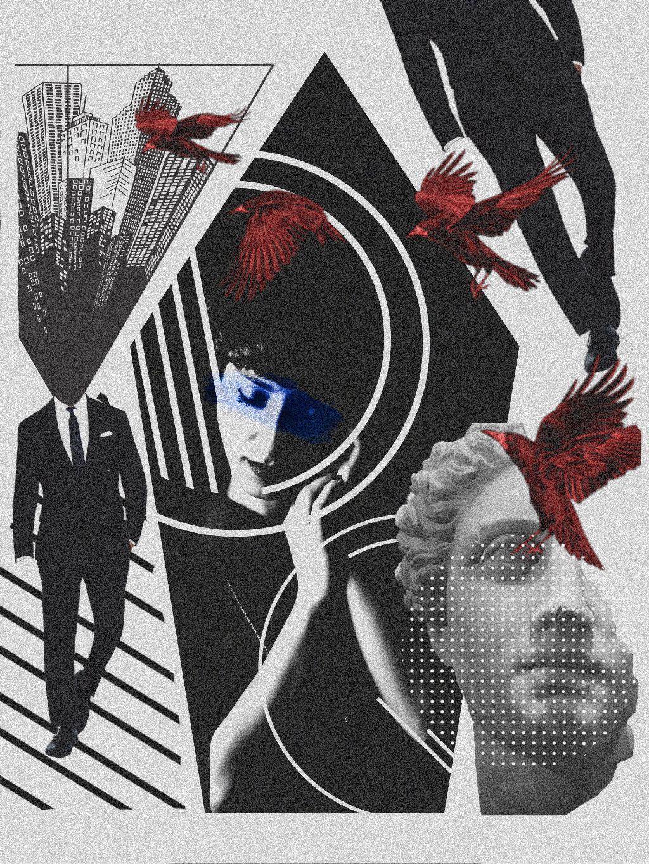 #freetoedit #art #collage #noiseeffect #geometry #raven #man #city #statue #dots #surreal