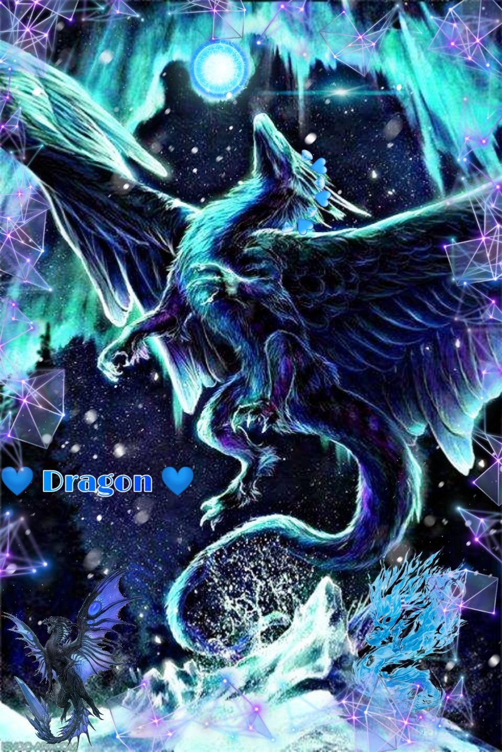 #freetoedit #dragon #water #blue #violet #heart
