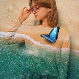 freetoedit beach water butterfly photomanipulation