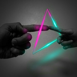 freetoedit triangle neon hands 4asno4i ftestickers scneons