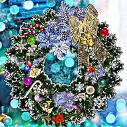 freetoedit christmas wreath doubleexposure overlayeffect
