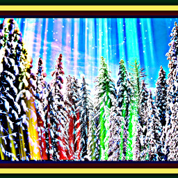 freetoedit trees colorful rays snow