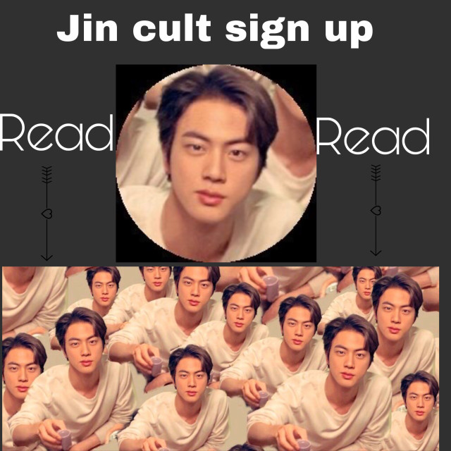 """JIN CULT SIGN UP!!!! -Set your profile and cover as the images above^ - Chant """"JIN"""" At random times  -Bow down to the king  -King seokjin and jin hit WILL RISE!!! -HE IS UNIVERSAL HANDSOM. -WE DO WHAT HE SAYS. -JIN FORHEAD ENTHUSIAST. -JIN PAVED THE WAY.  Please,if this flops i blame Jins skin cells :) please join the jin cult and dont let me be lonely #freetoedit"""