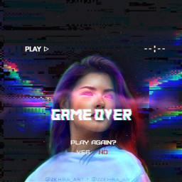 neon game glitch surreal women freetoedit