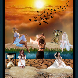 freetoedit women hourglass sunrise dawn