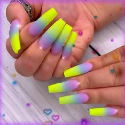 freetoedit nailart beautiful neons brightcolours