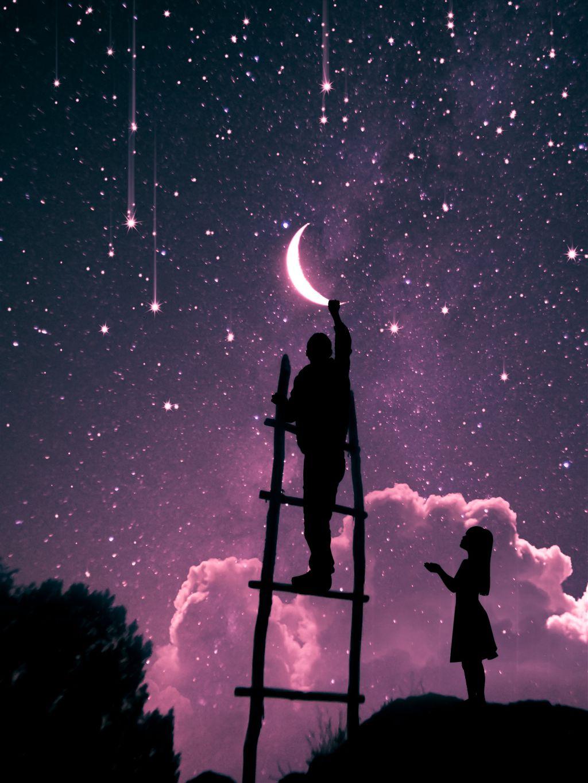 I'll get you the moon #freetoedit #moon #stars #sky #silhouette @picsart