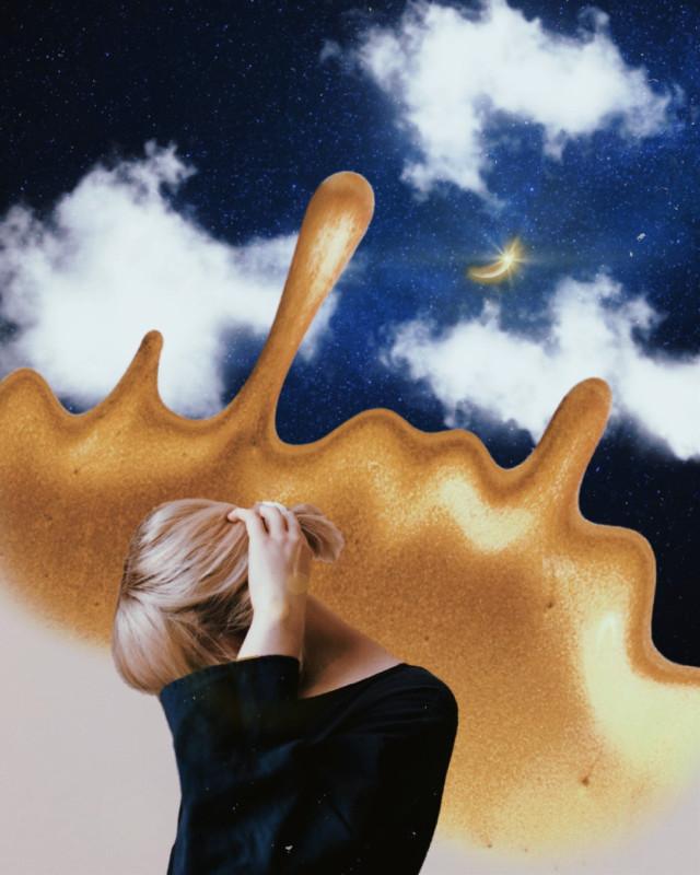 solid gold  #freetoedit #gold #blue #yellow #girl #clouds #moon #polaroid #colorsplash #splash #woman