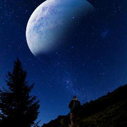 freetoedit sky hiking moon silhouette