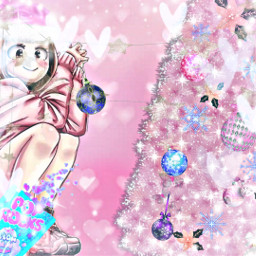 freetoedit cotton girl tree christmas