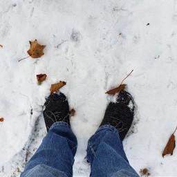 snow feet deadeaves brown myphoto freetoedit