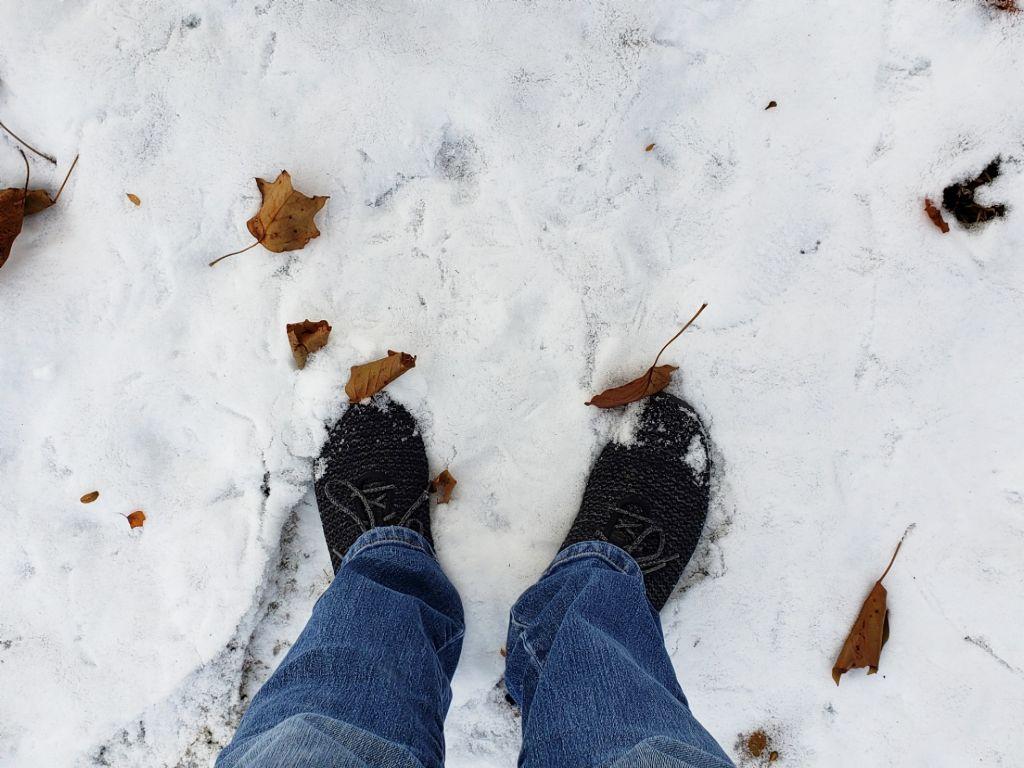 Walking in the snow 😊❄ #snow #feet (me) #deadeaves #brown ##myphoto #freetoedit