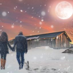 freetoedit winter snow scenery couple