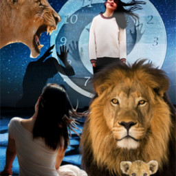 freetoedit woman women lion lions ircwindyportrait