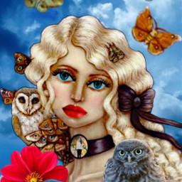 freetoedit woman girl owl butterflies ircwindyportrait