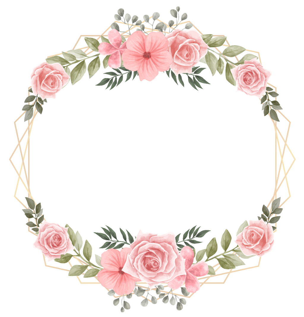 #rose #wreath #flower #square #geometric #glitter #golden #floral #watercolor #cute #handpainted #frame #border #colorful #wedding