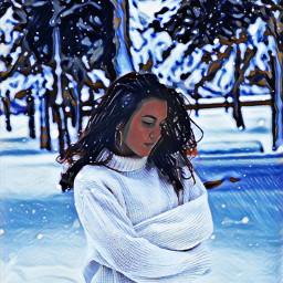 freetoedit woman winter winterforest december ircinthesnow